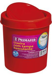 Lixeira Redonda Com Tampa Basculante 4,3 Litros Vermelha