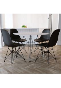 Conjunto De Mesa De Jantar Com 4 Cadeiras Eiffel Iron Preto E Branco