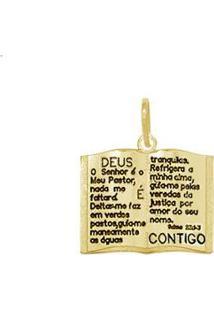 Pingente Biblia Sagrada - Unissex-Dourado