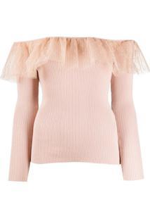 Redvalentino Blusa Ombro A Ombro De Tricô - Rosa