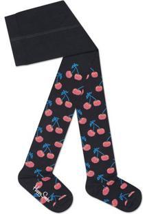Meia Calça Cerejas- Preta & Coralhappy Socks