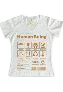 Camiseta Gola V Cool Tees Seres Humanos Feminina - Feminino-Mescla Claro