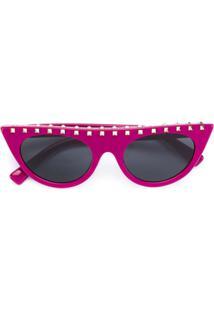 Valentino Eyewear Óculos De Sol Com Tachas - Rosa