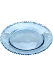 Sousplat Pearl- Cristal & Azul- 3Xø32Cm- Rojemacrojemac