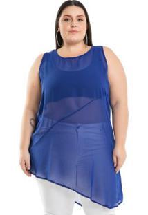 Regata Assimétrica Azul Miss Masy Plus