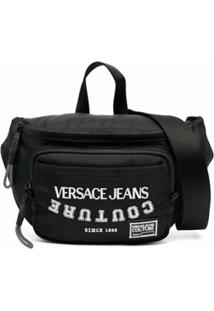 Versace Jeans Couture Pochete Com Logo Bordado - Preto