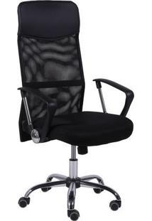 Jogo De Cadeiras Office Smart- Preto & Prateado- 2Pã§Or Design