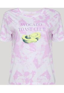 "Blusa Feminina Acabate Estampada Tie Dye ""Avocado Toast Club"" Manga Curta Decote Redondo Roxa"