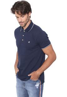 Camisa Polo Malwee Reta Padronagem Azul-Marinho/Branca