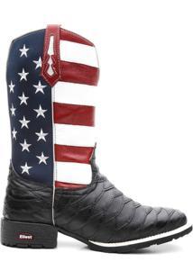 Bota Texana Bandeira Eua Bico Quadrado Escamada - Masculino-Preto