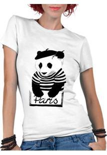Camiseta Criativa Urbana Panda Paris Divertidos - Masculino-Branco