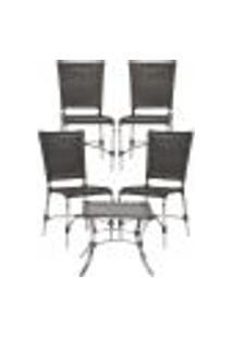 Jogo Cadeiras 4Un E Mesa De Centro Romenia Para Edicula Jardim Area Varanda Descanso - Tabaco