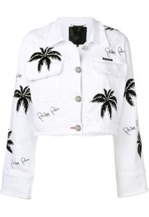 Philipp Plein Palm Tree Denim Jacket - Branco