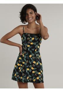 Vestido Feminino Curto Estampado De Abacaxi Alça Fina Preto