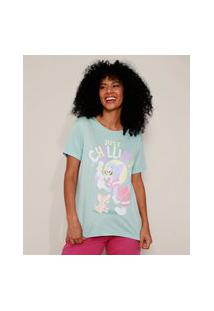 "Camiseta Feminina Tom E Jerry Just Chillin'"" Manga Curta Decote Redondo Azul Claro"""