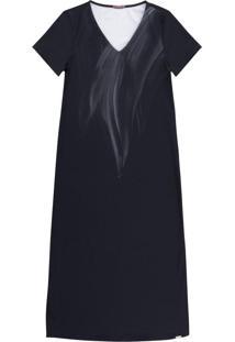 Vestido Midi Em Tecido Com Estampa Preto