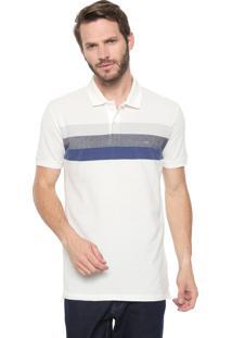 Camisa Polo Calvin Klein Slim Listrada Off-White