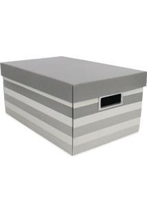 Caixa Organizadora M Listrada - Branca & Cinza - 18Xboxmania