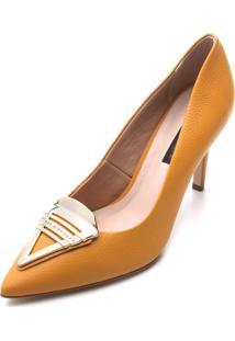 Scarpin Couro Jorge Bischoff Confort Amarelo - Amarelo - Feminino - Dafiti