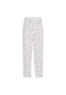 Calça Feminina Detalhe Franzido Estampa Confete - Branco