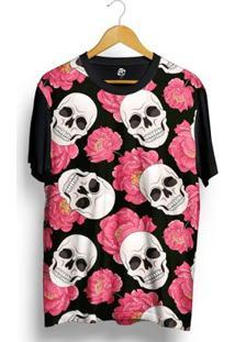 Camiseta Bsc Pink Rose Skull Full Print - Masculino-Preto