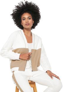Jaqueta Linho Dress To Recortes Off-White/Bege