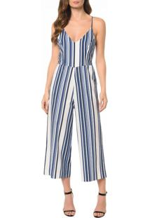 Macacão Ckj Fem Blue Stripes Cropped - 38