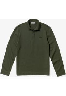 Camisa Polo Lacoste Regular Fit Manga Longa Masculina - Masculino-Verde Militar