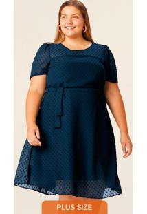 Vestido Azul Marinho Em Plumetti Plus