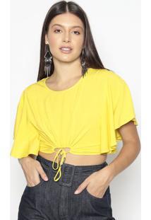 Blusa Cropped Com Amarraã§Ã£O- Amarela- Colccicolcci