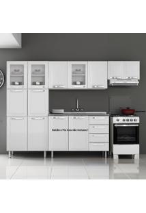 Cozinha De Aço Compacta Em L 11 Portas 3 De Vidro Itanew Branco - Itatiaia