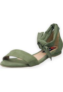 Sandalia Rasteira Love Shoes Traseiro Amarração Verde Militar