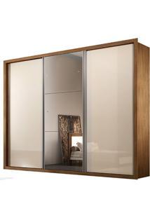 Guarda-Roupa Natal Com Espelho - 3 Portas - 100% Mdf - Imbuia Ou Imbuia Com Offwhite