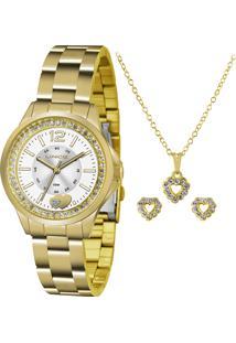 Kit De Relógio Analógico Lince Feminino + Brinco + Colar - Lrg4518L Ku40S2Kx Dourado - Único