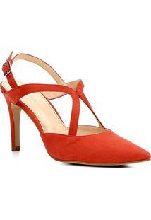 Scarpin Couro Shoestock Salto Alto Curvas - Feminino-Vermelho