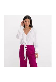 Camisa Manga Longa Em Viscose Lisa Com Amarração | A-Collection | Branco | Pp