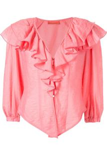 Manning Cartell Blusa Com Mangas Bufantes - Rosa