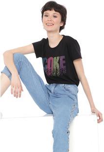 Camiseta Coca-Cola Jeans Aplicações Preta