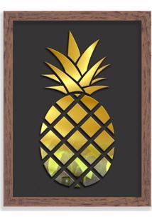 Quadro Decorativo Em Relevo Espelhado Abacaxi Dourado Madeira - Médio