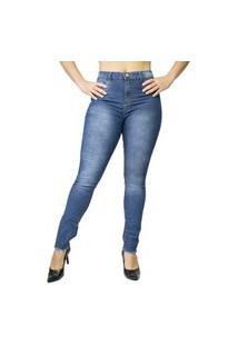 Calça Jeans Feminina Ecxo Com Elastano Skinny Cintura Alta