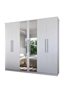 Guarda-Roupa Casal 6 Portas C/ 2 Espelhos Branco M Foscarini