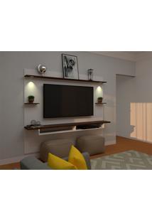 Painel Para Tv Até 60 Polegadas Lais Branco E Marrom 160X218 Cm