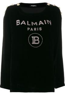 Balmain Suéter De Veludo Com Logo - Preto