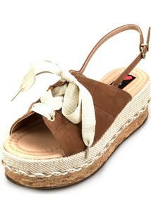 Sandália Anabela Love Shoes Fechada Cadarço Amarração Caramelo