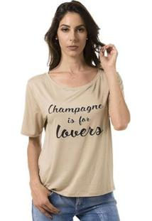 Camiseta Bloom Champagne Is For Lovers Feminina - Feminino-Creme