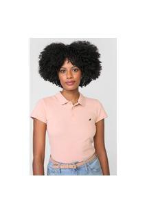 Camisa Polo Enfim Logo Rosa