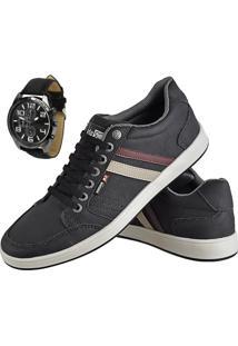 Sapatênis Cr Shoes Com Elástico Leve Preto Com Relógio