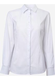 Camisa Dudalina Manga Longa Tricoline Stretch Feminina (Branco, 34)