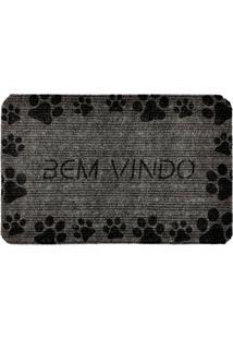 """Capacho Antiderrapante """"Bem Vindo""""- Cinza Escuro & Pretowevans"""