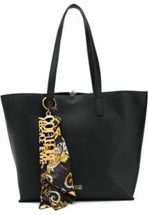 Versace Jeans Couture Bolsa Tote Com Logo E Detalhe De Lenço - Preto